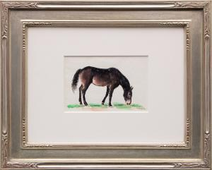 "Ila Mae McAfee, ""Untitled (Horse Grazing)"", watercolor painting for sale purchase consign denver colorado auction museum"