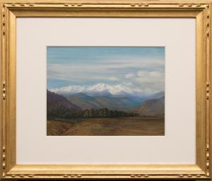 "George Elbert Burr, ""The Range from Road to Idaho Springs, Colorado (October Morning)"", watercolor painting, circa 1910 painting for sale purchase consign auction denver Colorado art gallery museum"