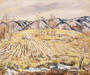 "Elisabeth Spalding, ""Plowed Fields, Wide Acres"", oil, January, 1938, painting for sale purchase consign auction denver Colorado art gallery museum"