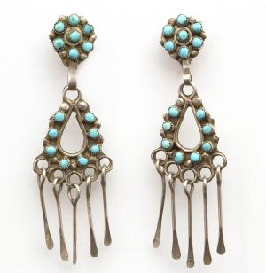 Earrings, Zuni, circa 1950, vintage old pawn native american indian jewelry