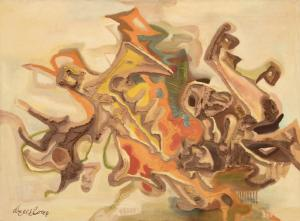 """Eve van Ek Drewelowe, """"""""Alpha,"""" The Beginning"""", mixed media, 1957 oil painting for sale purchase auction consign denver colorado art gallery museum"""