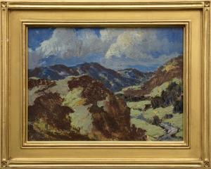 "Paul K. (Kauvar) Smith, ""The Storm (Colorado)"", oil, 1932 painting for sale purchase auction consign denver colorado art gallery museum"