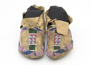 childs Moccasins (Child's), Arapaho, circa 1875 classic period 19th century Native American Indian antique vintage art for sale purchase auction consign denver colorado art gallery museum