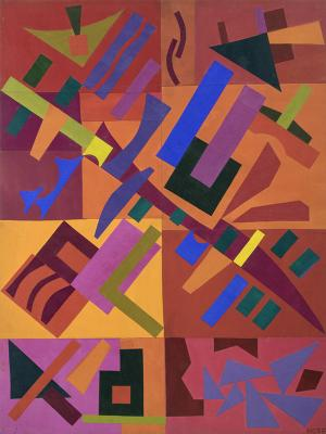 "Margo Hoff, ""Celebration 1984"", acrylic, 1984 abstract painting fine art for sale purchase buy sell auction consign denver colorado art gallery museum"