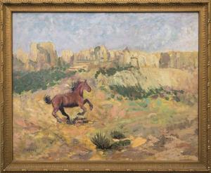 """Raphael Lillywhite, """"Mustang"""", oil, circa 1935 for sale purchase consign auction denver Colorado art gallery museum"""