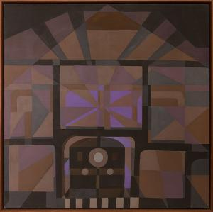 "Margo Hoff, ""Quiet Station"", mixed media, 1974 abstract painting fine art for sale purchase buy sell auction consign denver colorado art gallery museum"