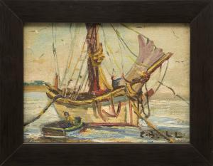 """Caroline Bell, """"Untitled (Sailboat)"""", oil"""