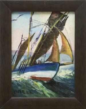 "Caroline Bell, ""Untitled (Sailing)"", oil painting fine art for sale purchase buy sell auction consign denver colorado art gallery museum"