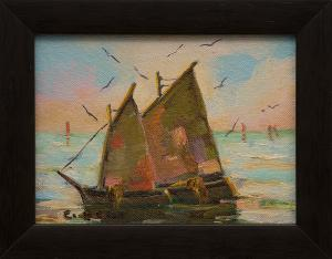 "Caroline Bell, ""Untitled (Sailboats)"", oil painting fine art for sale purchase buy sell auction consign denver colorado art gallery museum"