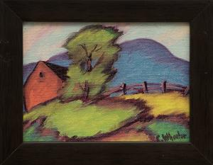 """Charles Wheeler, """"Untitled (Barn and Mountain)"""", oil painting fine art for sale purchase buy sell auction consign denver colorado art gallery museum"""