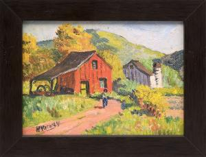 "H. Harvey, ""Untitled (Farm)"", oil, for sale purchase consign auction denver Colorado art gallery museum"