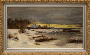 "Indiscernible Artists name/not signed, ""Untitled (Farm in Winter)"", oil, painting, for sale purchase consign auction denver Colorado art gallery museum"