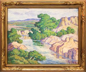 "Birger Sandzen, ""Kansas Stream (Graham County, Kansas)"", oil painting for sale denver colorado art gallery museum auction consign sell buy"