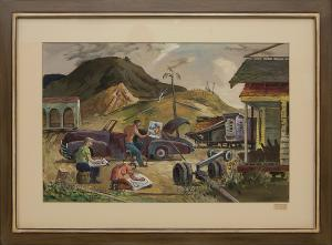 "Frederick Shane, ""Artists Sketching (California)"", gouache, 1949 painting fine art for sale purchase buy sell auction consign denver colorado art gallery museum"