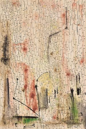 """Indiscernible Artists name/not signed, """"Untitled"""", mixed media, 1953, for sale purchase consign auction denver Colorado art gallery museum"""