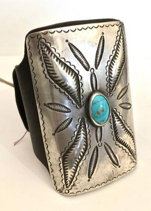 Ketoh, Navajo old pawn jewelry for sale bow guard blue gem turquoise silver