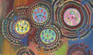 "Edward Marecak, ""Prismatic Clocks in the Upside Down World"", 1980s oil painting fine art for sale purchase buy sell auction consign denver colorado art gallery museum"