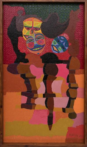 """Edward Marecak, """"Still Life with Masks"""" 1983 oil painting fine art for sale purchase buy sell auction consign denver colorado art gallery museum"""