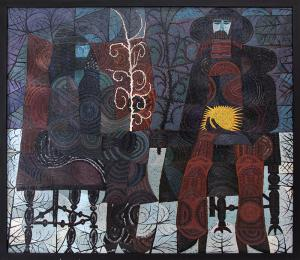 """Edward Marecak, """"Winter Witches Contemplating The Return Of Spring"""", oil, 1985 painting fine art for sale purchase buy sell auction consign denver colorado art gallery museum"""