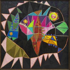 "Edward Marecak ""The Big Fish Eats The Little Fish"", oil painting, vintage 1976 abstract art modern"