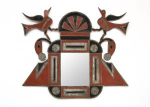 """Lovebirds"", metalwork, circa 1930 decorative mirror new mexico hispanic art"