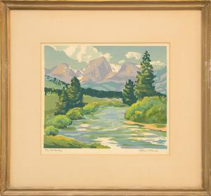 """Alfred James Wands, """"The Rockies print silkscreen painting fine art for sale purchase buy sell auction consign denver colorado art gallery museum"""