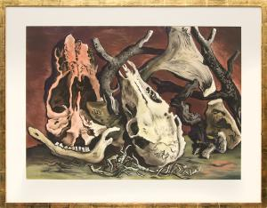 "Vance Hall Kirkland, ""Untitled (Five Million Years Ago)"", watercolor painting fine art for sale purchase buy sell auction consign denver colorado art gallery museum"
