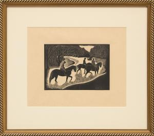 """Barbara Latham, """"Untitled (Fording the Stream)"""", etching, 1986 painting fine art for sale purchase buy sell auction consign denver colorado art gallery museum"""
