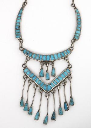 Zuni channel inlay Blue Gem turquoise necklace for sale purchase old pawn jewelry southwestern native american indian