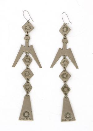 old pawn jewelry for sale German silver peyote earrings Mesquakie Plains indian native american