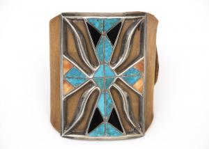 Bow guard, Zuni, Circa 1940s old pawn vintage native american southwestern jewelry for sale purchase denver colorado