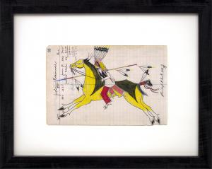 """James Black, """"Whirlwind"""" ledger drawing native american indian cheyenne painting fine art for sale purchase buy sell auction consign denver colorado art gallery museum"""