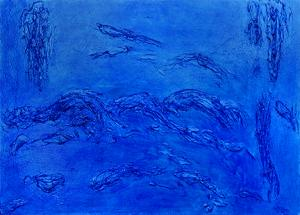 """Edward Goldman, """"Blue"""", mixed media, 1969, for sale purchase consign auction denver Colorado art gallery museum"""