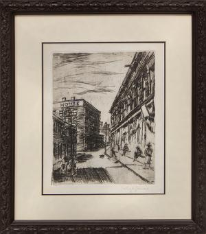 "Lester Varian, ""Untitled (Street Scene)"" lithograph print 1926 painting fine art for sale purchase buy sell auction consign denver colorado art gallery museum"