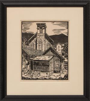 "Royal Willis, ""Old Church, Central City Colorado (12/50)"", woodcut (Woodblock), 1934 painting fine art for sale purchase buy sell auction consign denver colorado art gallery museum"