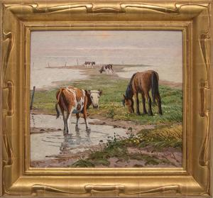 Randall Davey horse cow cattle pasture vernon oil painting fine art for sale purchase buy sell auction consign denver colorado art gallery museum