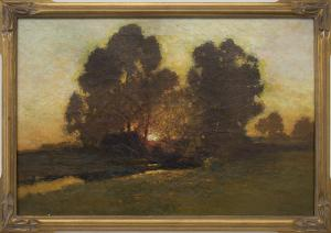 Charles Partridge Adams oil painting for sale Sunset along the front range colorado plains stream trees vintage