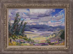 """Rod Goebel, """"Cloud Shadows Over Moreno Valley (California)"""", oil painting fine art for sale purchase buy sell auction consign denver colorado art gallery museum"""