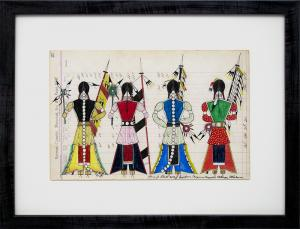 """James Black ledger drawing """"Initiation Day - Cheyenne Bowstring Society"""", mixed media, 2018 painting fine art for sale purchase buy sell auction consign denver colorado art gallery museum"""