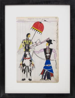 """James Black ledger drawing """"Out for the Day"""", colored pencil, 2018 painting fine art for sale purchase buy sell auction consign denver colorado art gallery museum"""