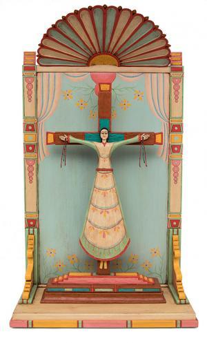 Santo Bulto Michael Blatnik Santa Librada  (Wilgefortis) contemporary devotional art hispanic spanish colonial