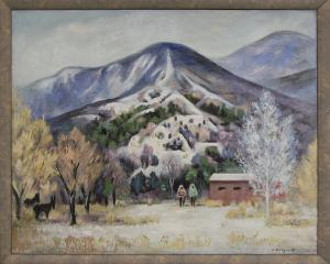 "Georgina Klitgaard, ""Sangre de Cristo Scene (Colorado Mountain Landscape)"", oil painting fine art for sale purchase buy sell auction consign denver colorado art gallery museum"