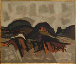 "Kenneth Evett, ""Western Landscape"", oil, circa 1955 painting fine art for sale purchase buy sell auction consign denver colorado art gallery museum warnock"