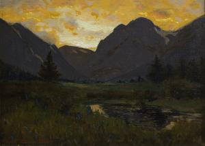"""Charles Partridge Adams, """"Moraine Park at Sunset, Estes Park, Colorado (Rocky Mountain National Park)"""", oil, early 20th century painting fine art for sale purchase buy sell auction consign denver colorado art gallery museum"""