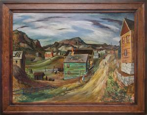 Fred Shane victor colorado mining town regionalist painting fine art for sale purchase buy sell auction consign denver colorado art gallery museum