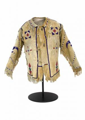 Antique Native american indian beadwork, jacket, shirt, 19th century, hide, fringe, ochre, red, white, blue, vintage, authentic artifact