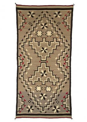Navajo Rug vintage trading post vallero star crystal pattern tan light brown gray white black red