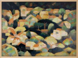 Hugh Weller, Sausalito Hillside, oil painting, circa 1940 for sale modernist art