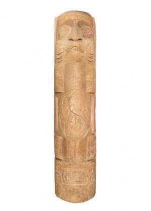 totem, pole, duane pasco, shark mother, carved wood, 1960s, 1970s, northwest coast art, vintage, for sale