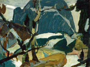 "John Fabian Carlson, ""Crazy Quilt Sketch"", oil, c. 1920 john f. carlson broadmoor art academy colorado"